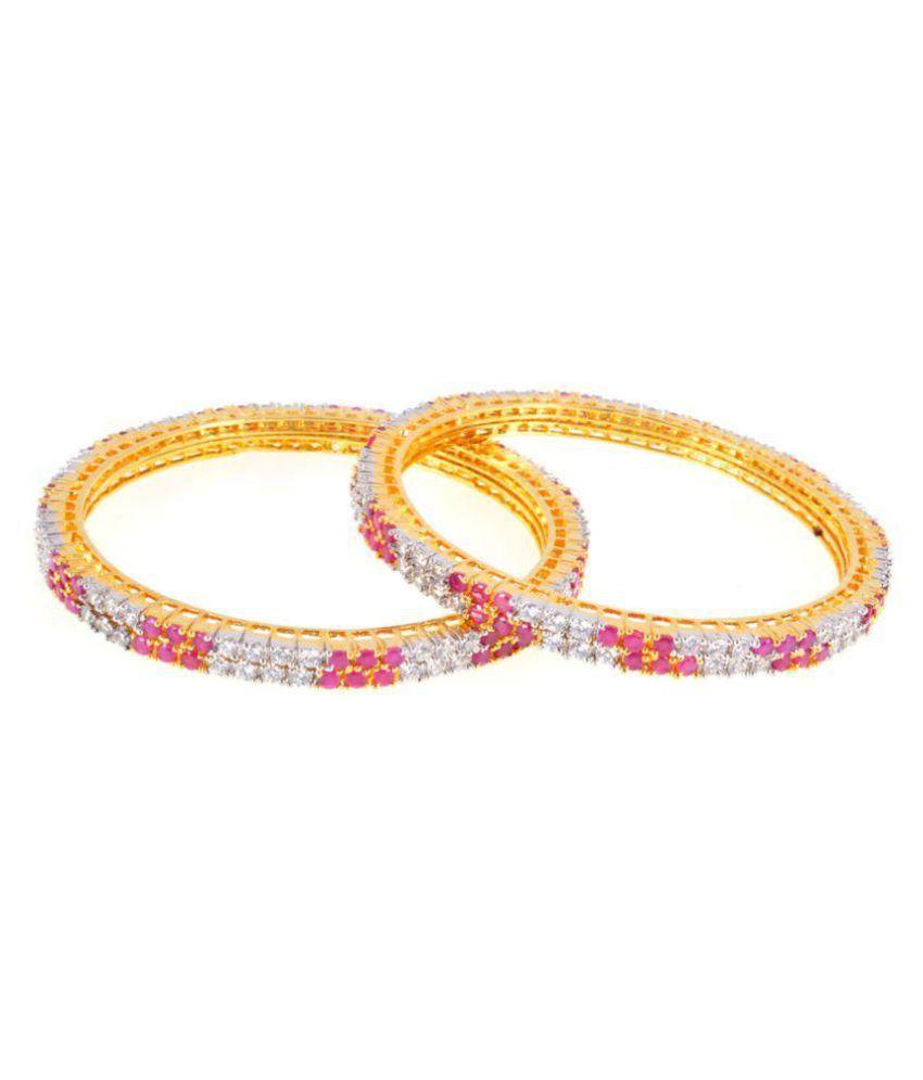 ShonaJewels rhodium plated American Diamond Multicolour  Bangle set