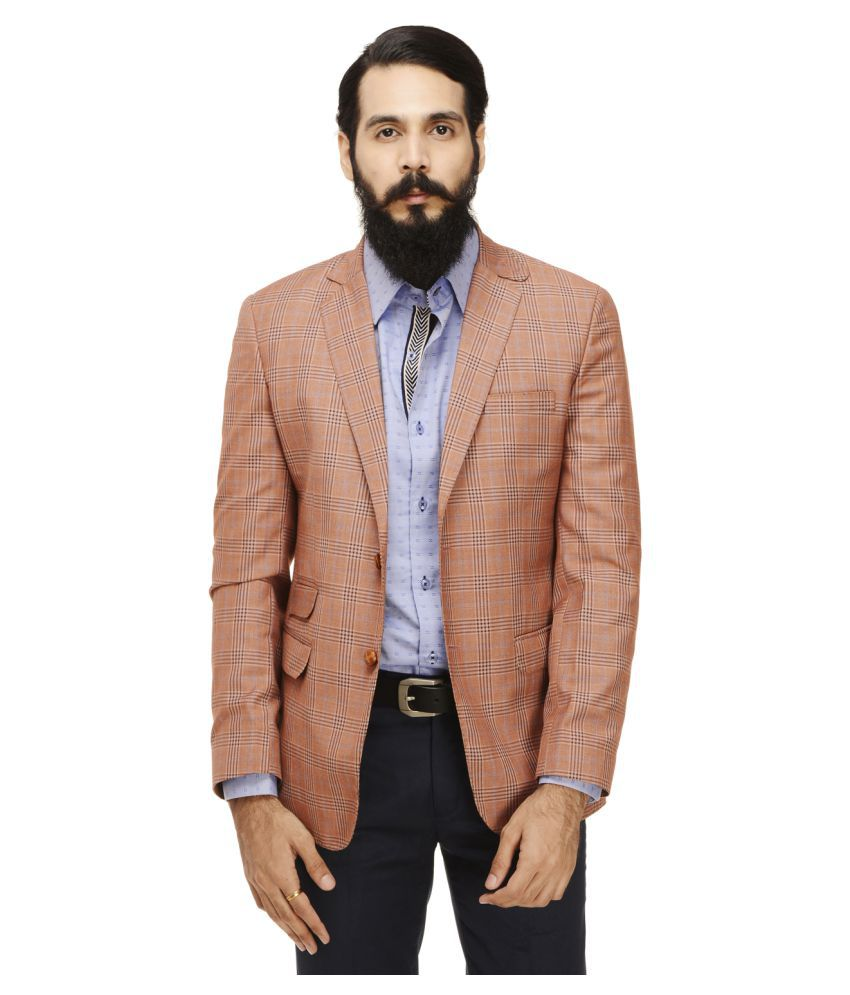 Monteil & Munero Orange Checks Casual Blazers