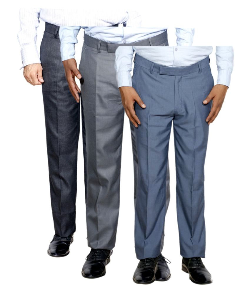 IndiWeaves Multi Regular Flat Trouser