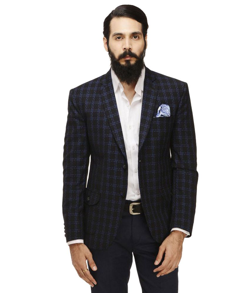 Monteil & Munero Black Checks Casual Blazers