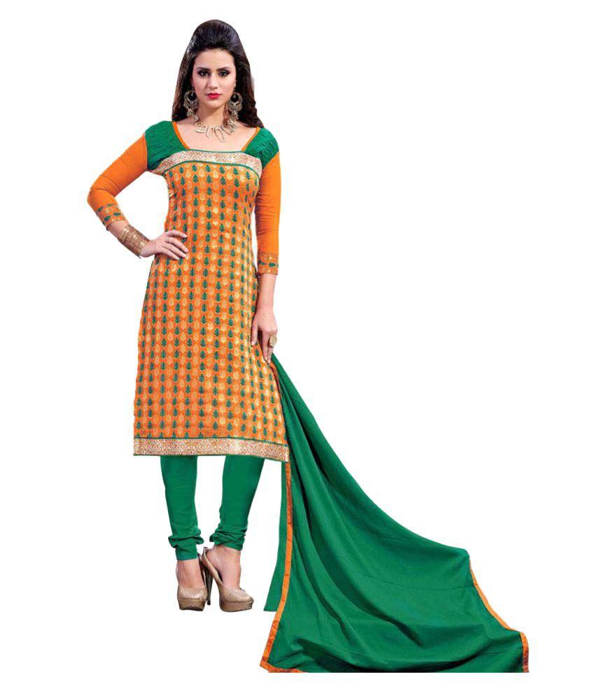 Price Bet Multicoloured Chanderi Dress Material