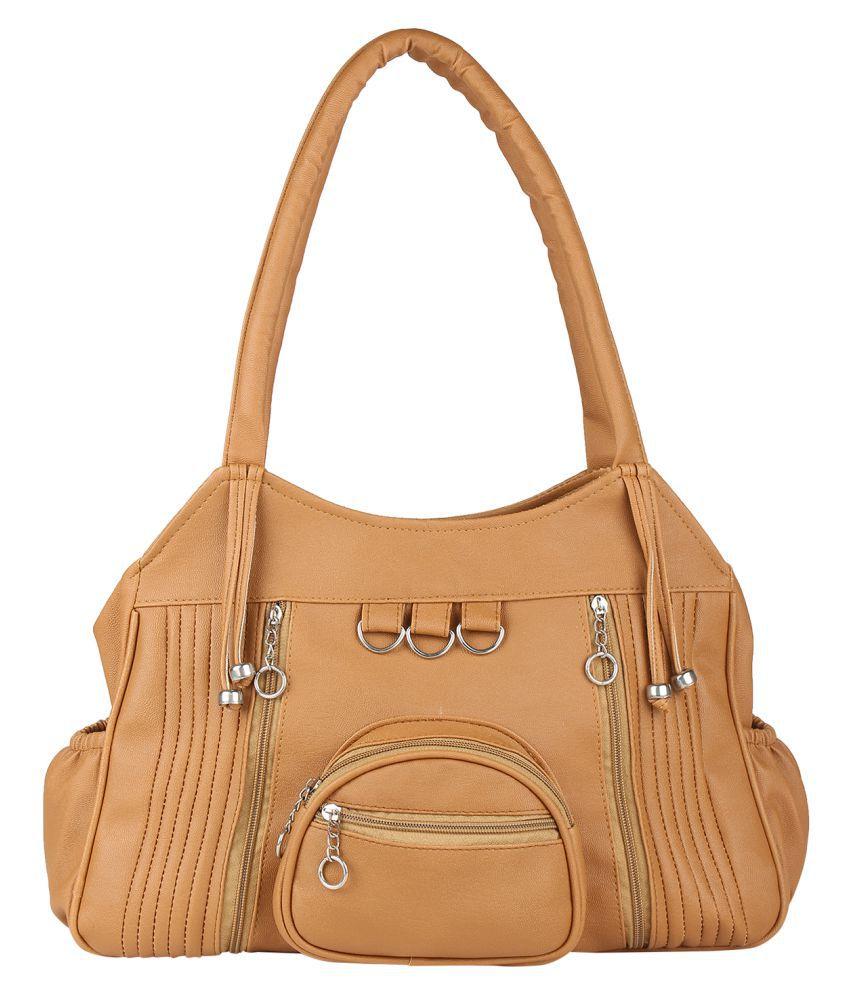 Fair Deals Beige P.U. Shoulder Bag