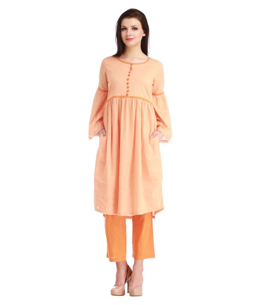 Myra orange Cotton Straight Stitched Suit