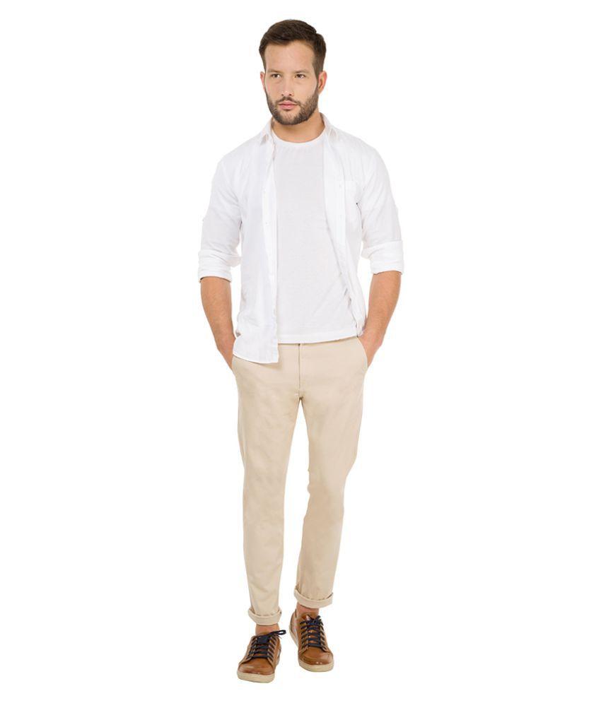 RENZO Beige Regular Flat Trouser