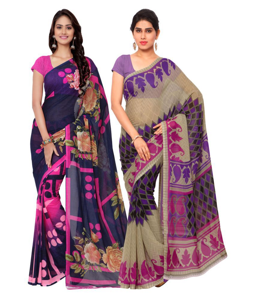 Suchi Fashion Multicoloured Georgette Saree Combos