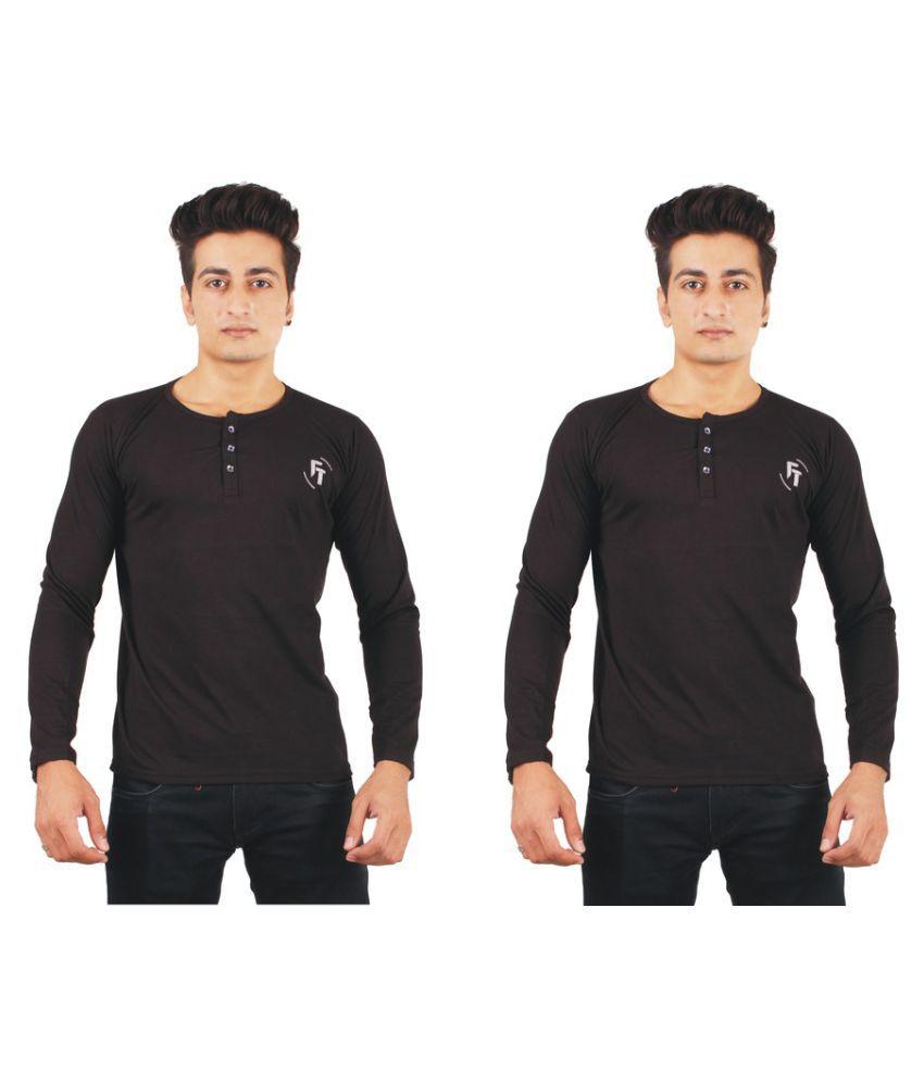 FTrick Black Henley T-Shirt Pack of 2
