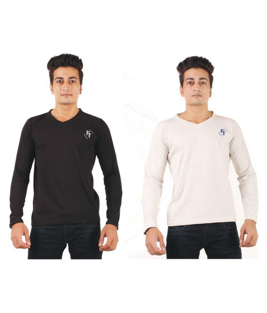 FTrick Multi V-Neck T-Shirt Pack of 2
