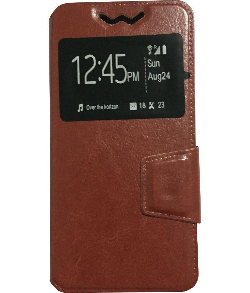 Intex Aqua 3G Neo Flip Cover by Lomoza - Brown