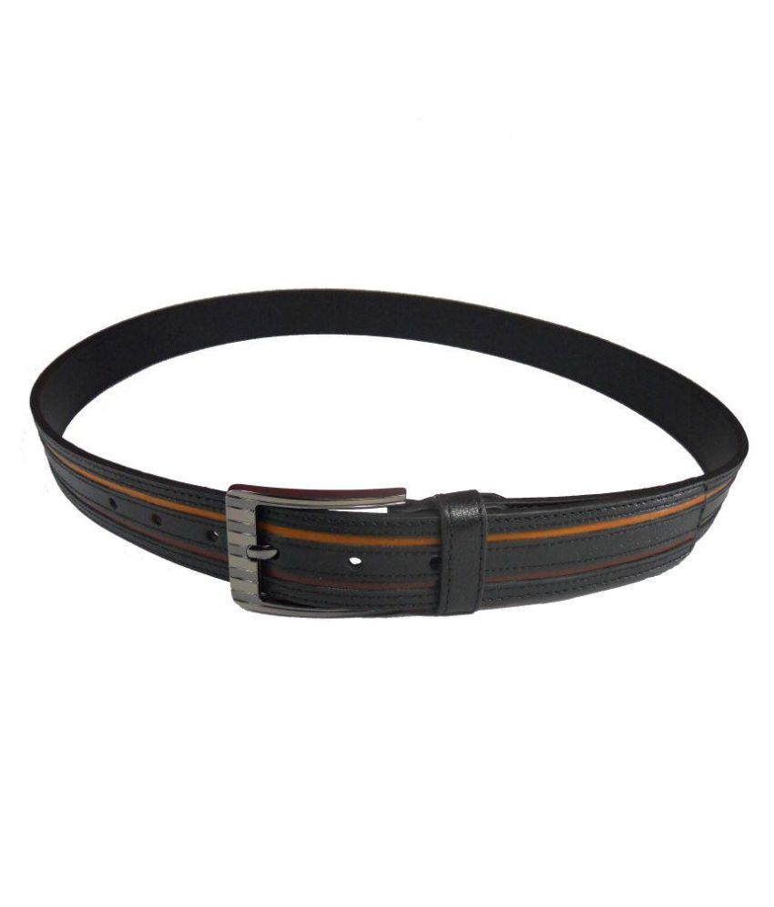 LEATHER TOUCH Black Leather Casual Belts