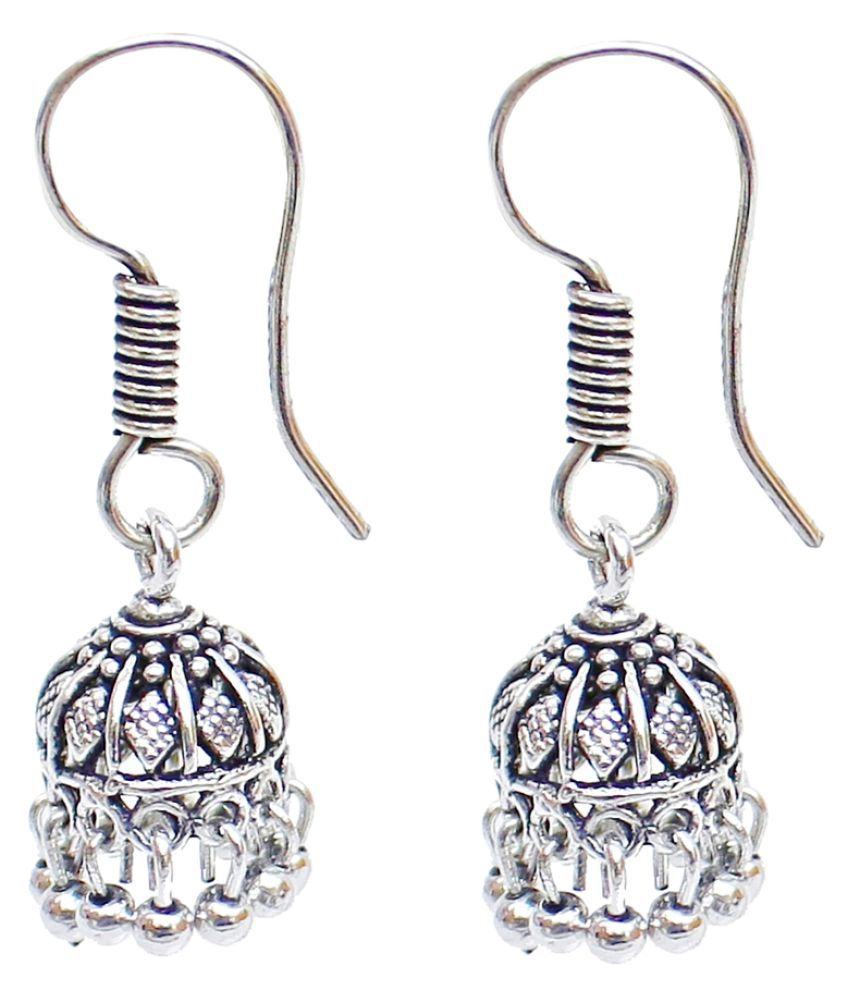 Lucky Jewellery Silver Jhumki Earrings Single Pair