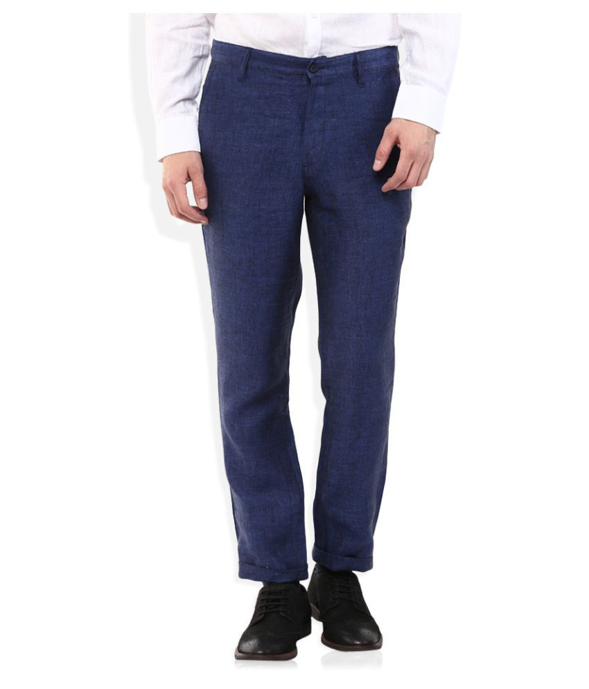 Lombard Blue Regular Flat Trouser
