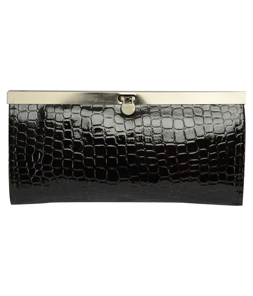 Lucky Black Faux Leather Box Clutch
