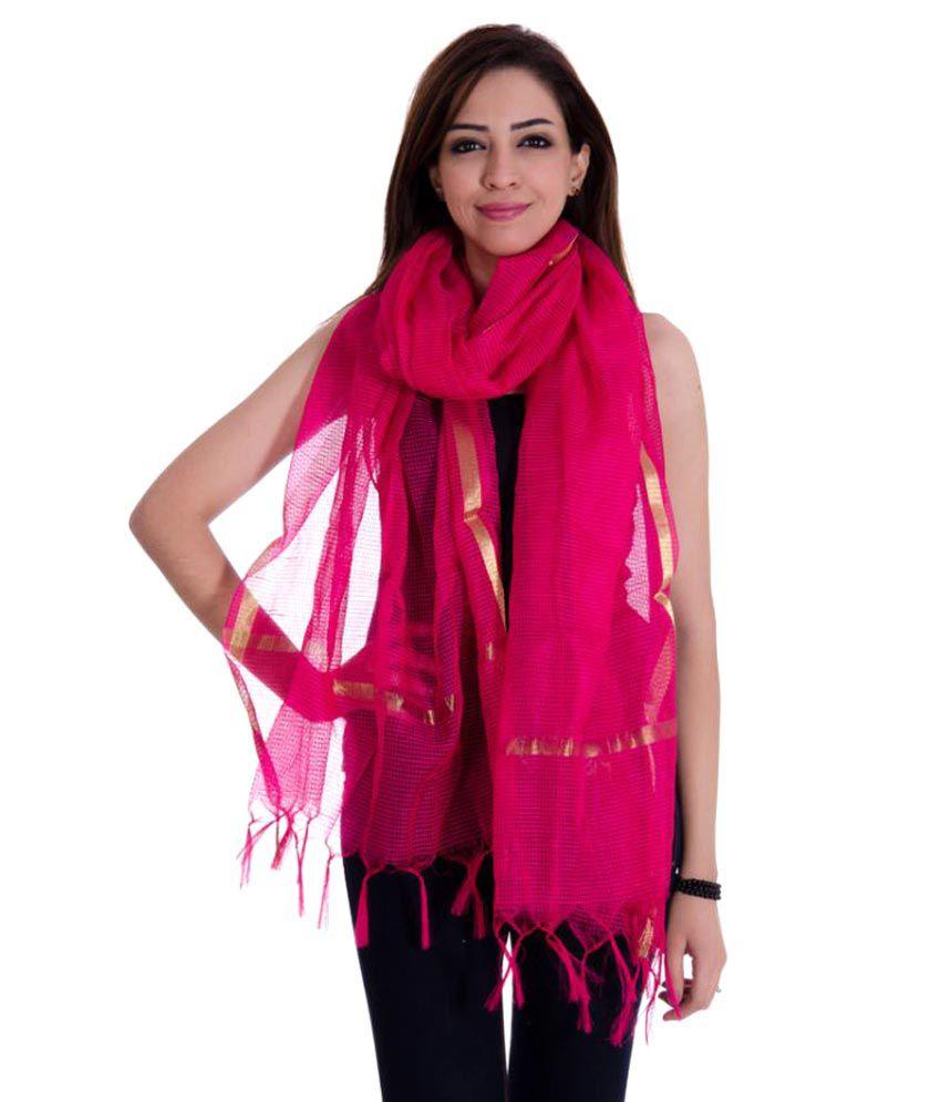 Rangsthali Pink Abstract Dupatta