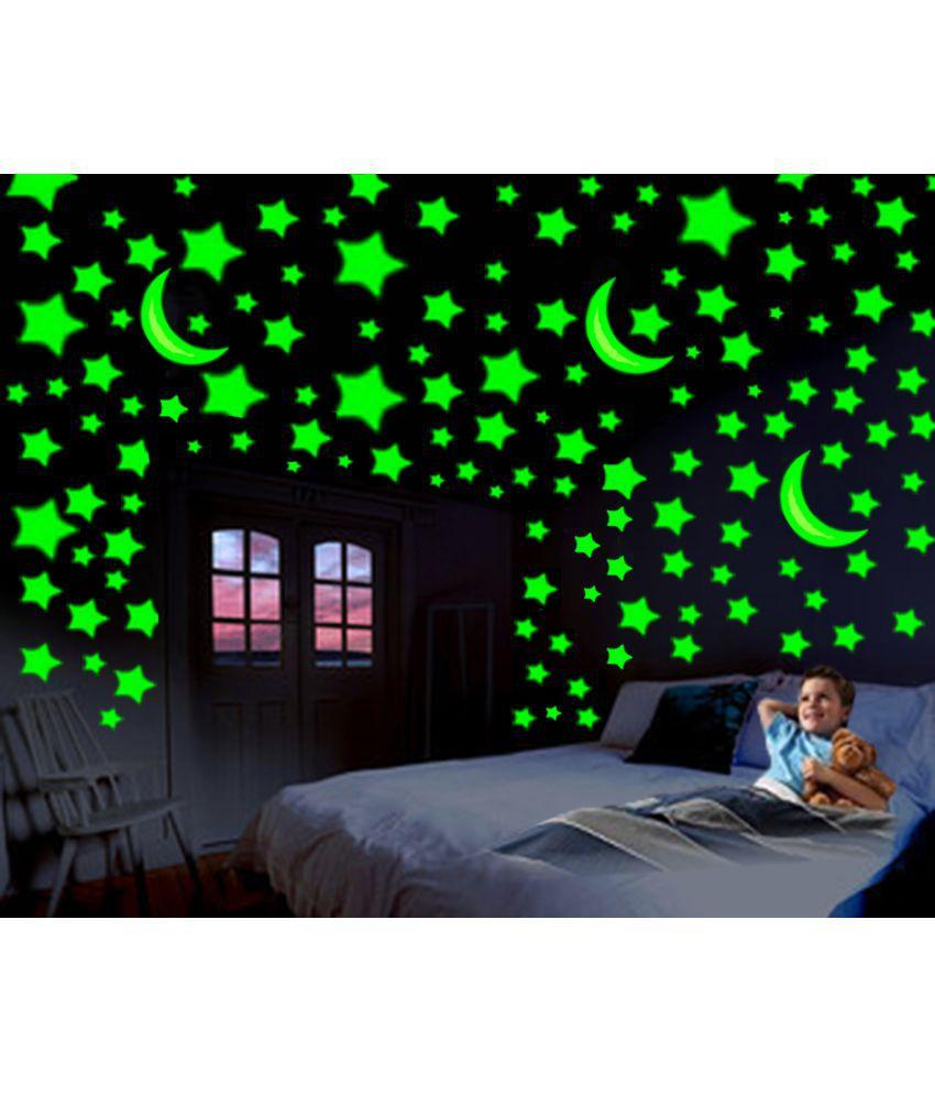 Divi Glowing Radium 3 Moon 96 Large Star Pvc Wall Stickers
