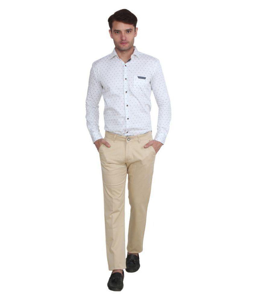 Kundan Sulz Gwalior Beige Slim Flat Trouser