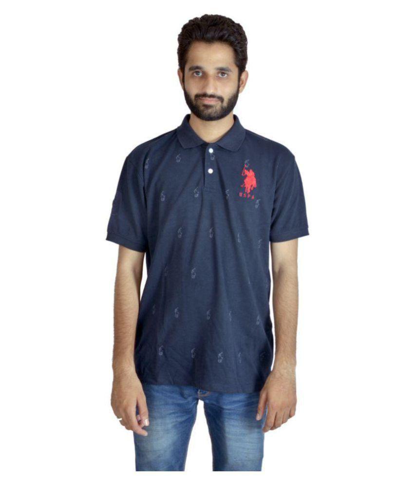 Shapeart Blue Cotton Nylon Polo T-shirt Single Pack