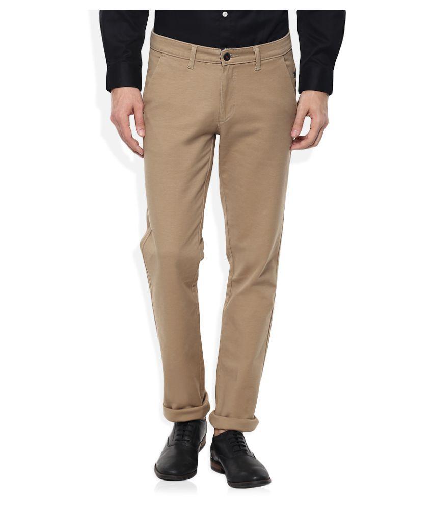 SIN Beige Slim Flat Trouser