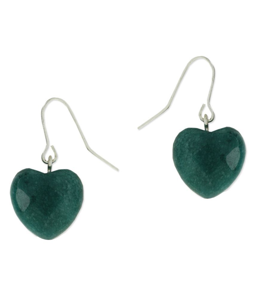 Fabula Green Heart  Drop Earrings