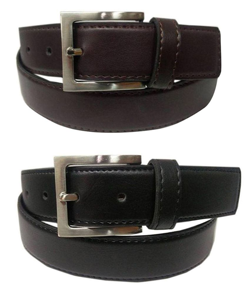 Revo Multi Faux Leather Formal Belts - Pack of 2