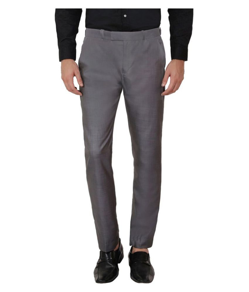 Jazzup Grey Slim Flat Trouser