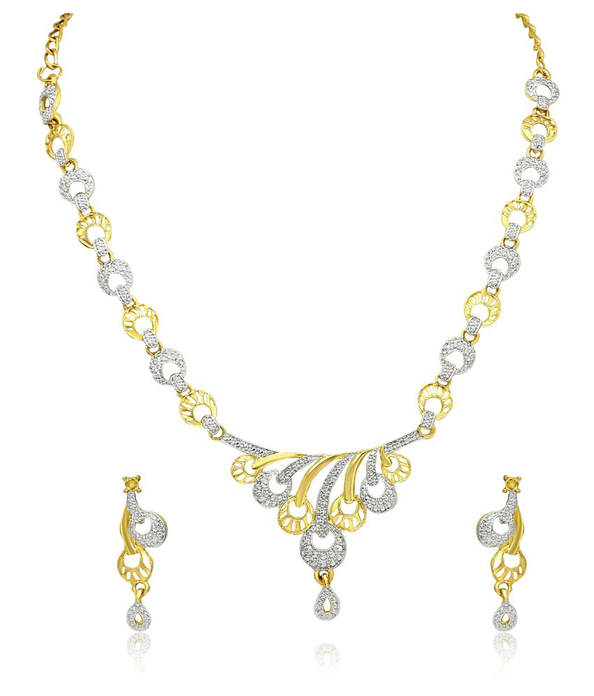 Atasi International Gold Silver Diamond Look Necklace Set
