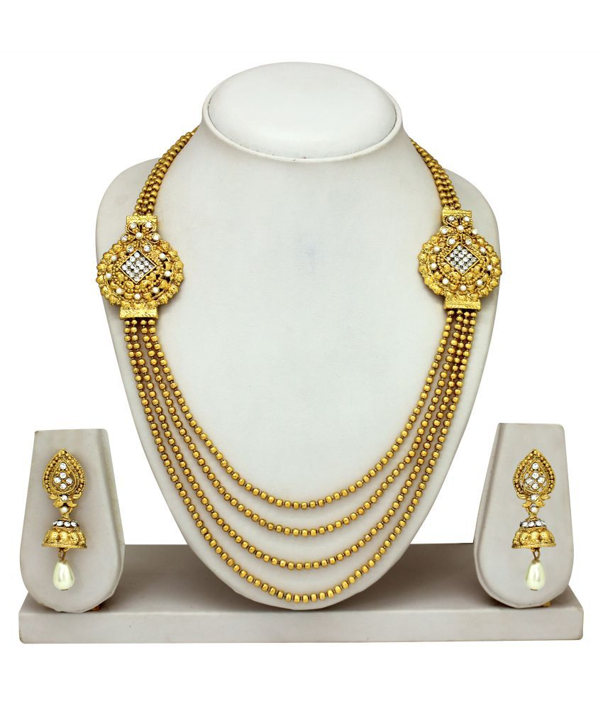 Atasi International Golden Traditional Antique Necklace Set