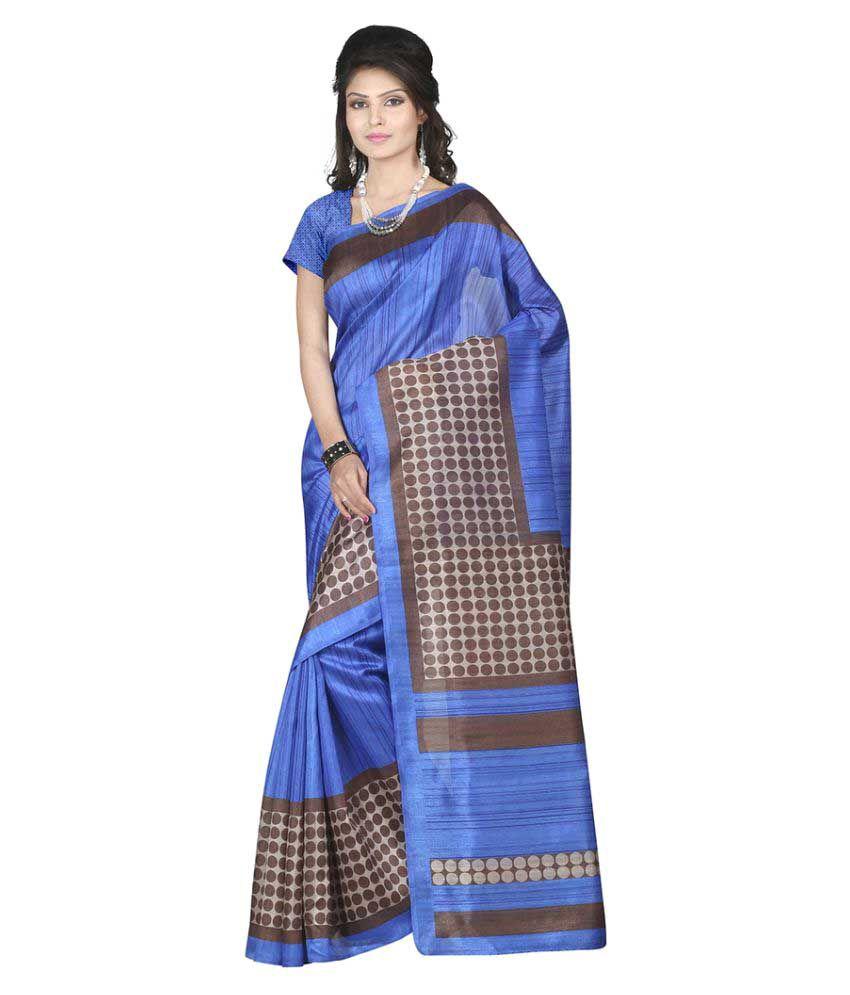 M.Tex Blue Bhagalpuri Cotton Saree