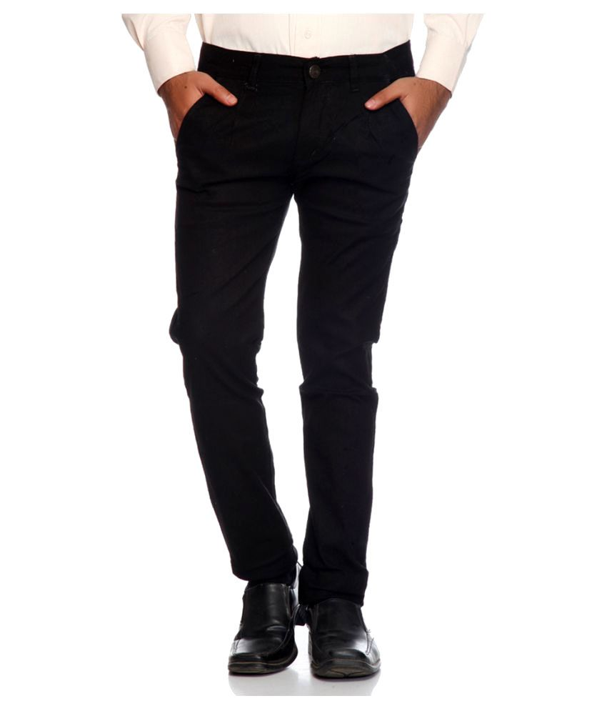 Van Galis Black Regular Flat Trouser