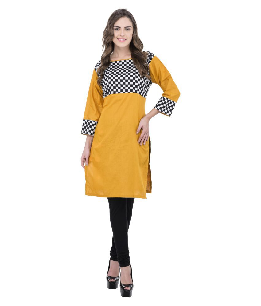 Drapes Yellow Cotton Straight Kurti