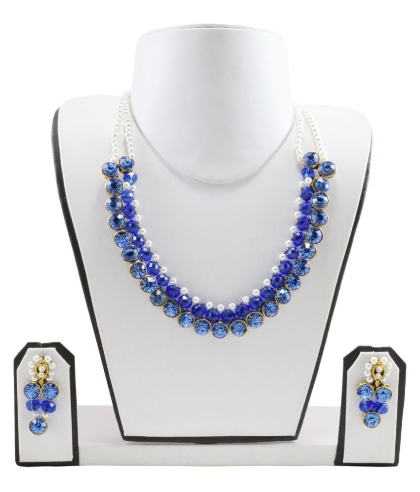 FashionValley Blue Crystal Beads & White Pearl Kundan Necklace Set