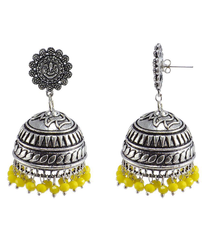 Silvesto India Silver Plated Jhumki Jhumka Earrings