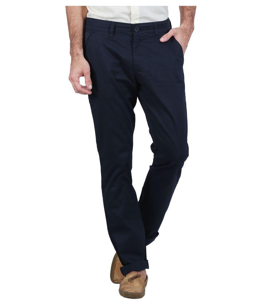 Raa Jeans Navy Blue Slim Flat Trouser