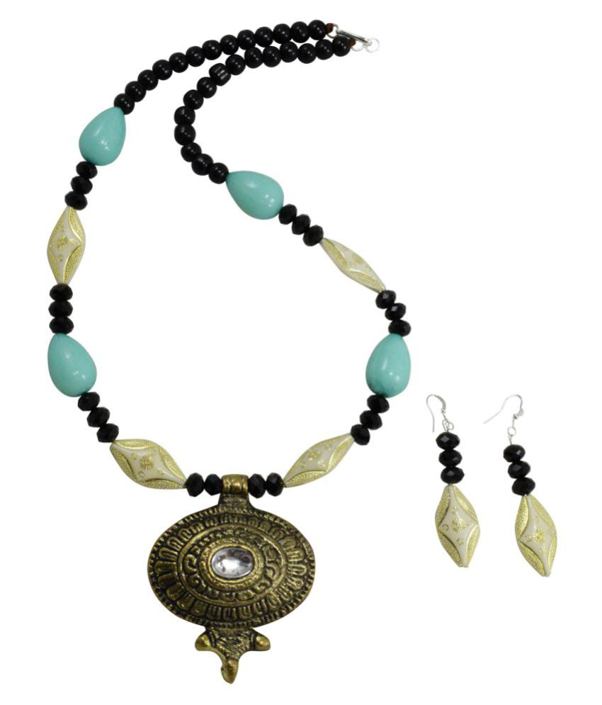Fashionvalley Designer Beads Antique Pendant Necklace with Earrings for Women & Girls