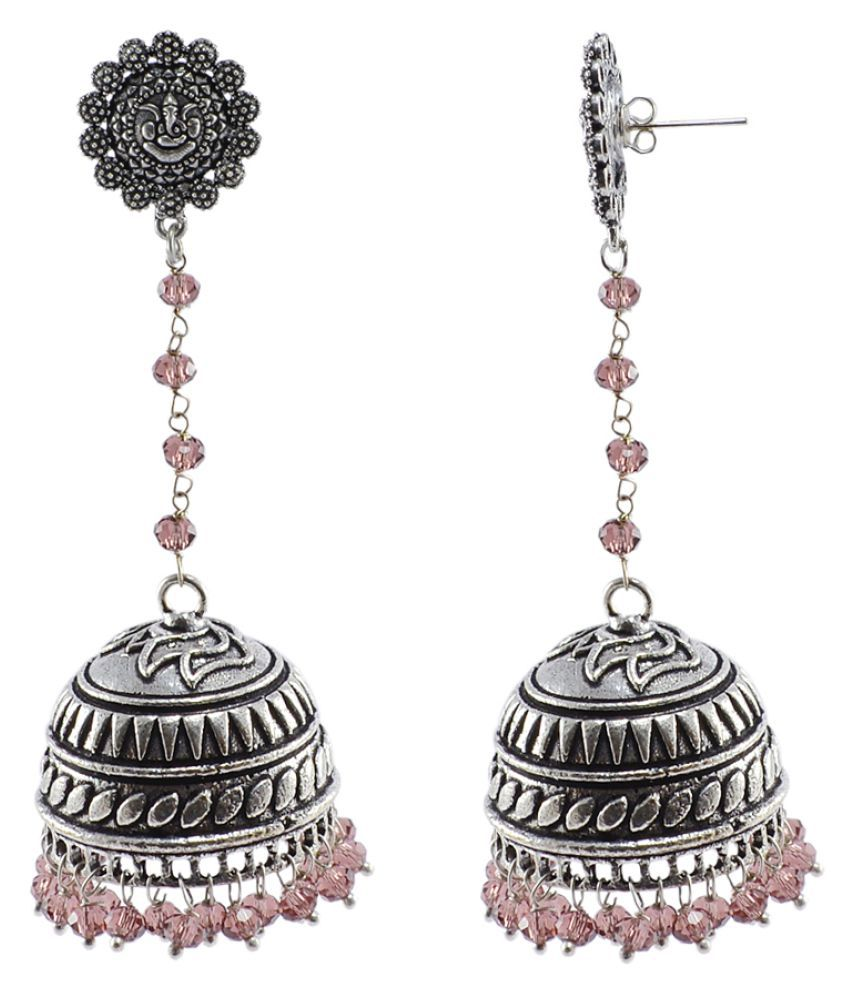 Silvesto India Bollywood Inspired 925 Silver Plated Amethyst Quartz Jhumki Earrings PG-26161
