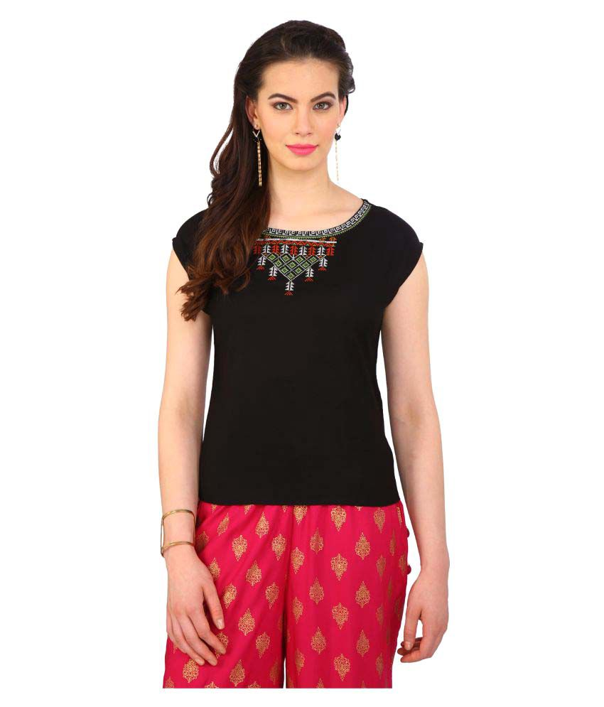 f1b2e3119adcf Srishti By FBB Black Rayon Regular Tops - Buy Srishti By FBB Black Rayon  Regular Tops Online at Best Prices in India on Snapdeal