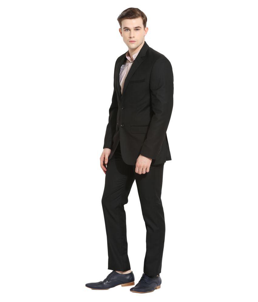 Envoy Black Solid Casual Suit