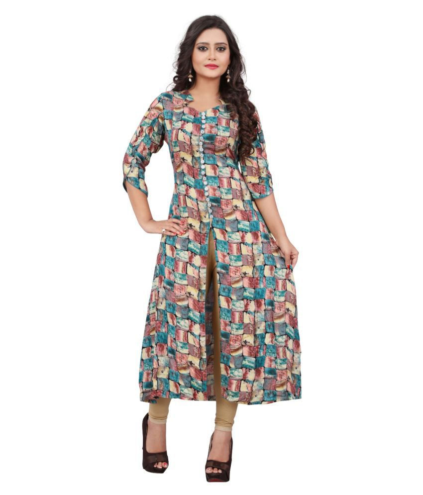 Maithili Creation Multicoloured Rayon Straight Kurti