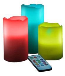 Tuelip 12 LED Color-Changing Candles, 3 Battery-operated LED Pillar Candles With Remote