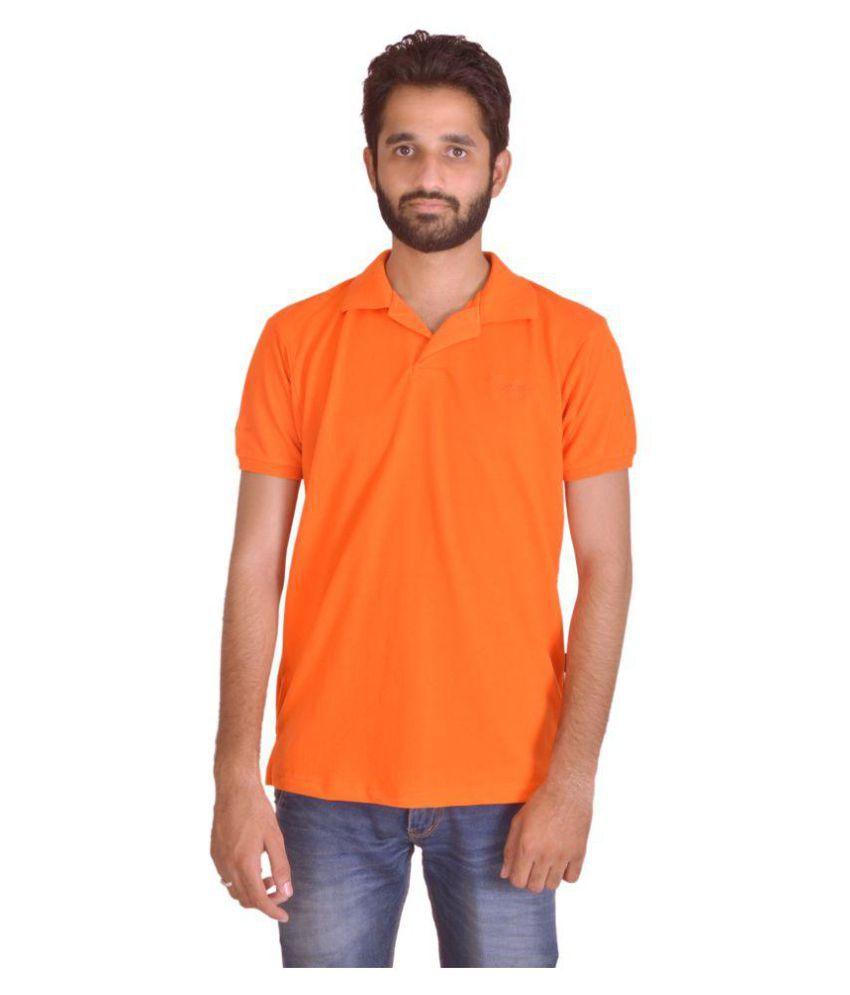 Shapeart Orange Cotton Nylon Polo T-shirt Single Pack