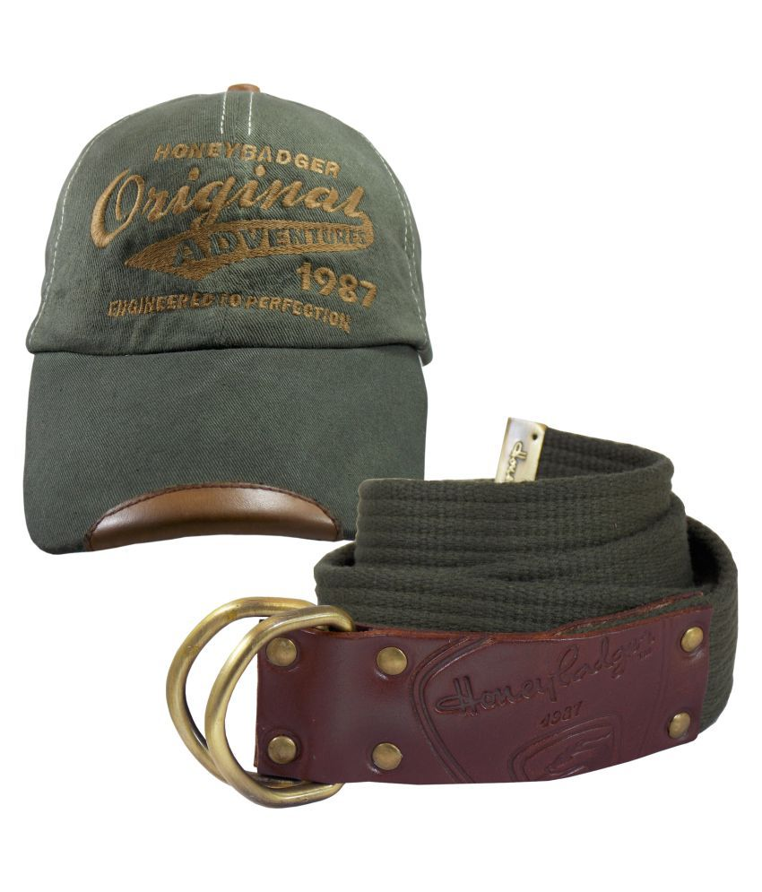 HoneyBadger Green Canvas Casual Belts