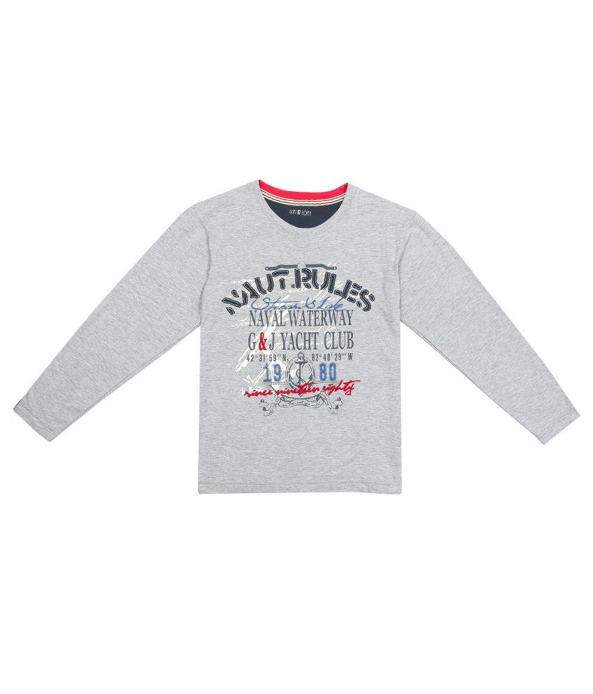 Gini & Jony Gray Printed Regular Fit T-Shirt