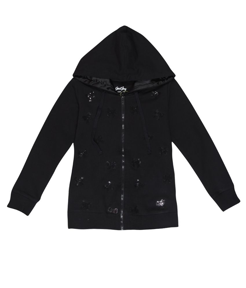 Gini & Jony Gray Sequinned Regular Fit Hooded Jacket