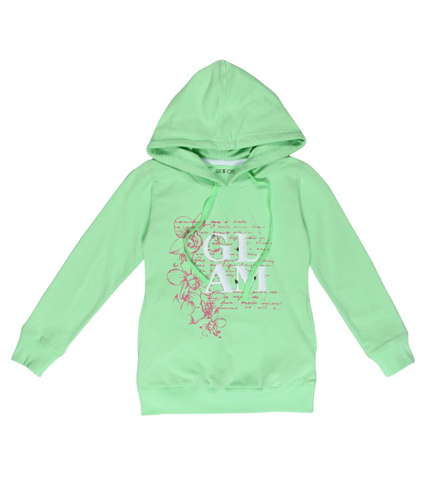 Gini & Jony Green Printed Regular Fit Hooded Sweatshirt