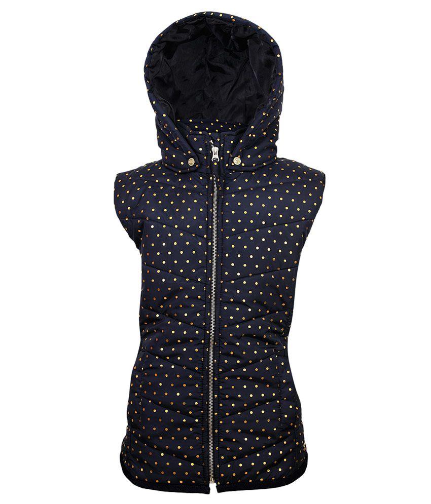 Gini & Jony Navy Blue Polka Dot Printed Regular Fit High Neck Jacket