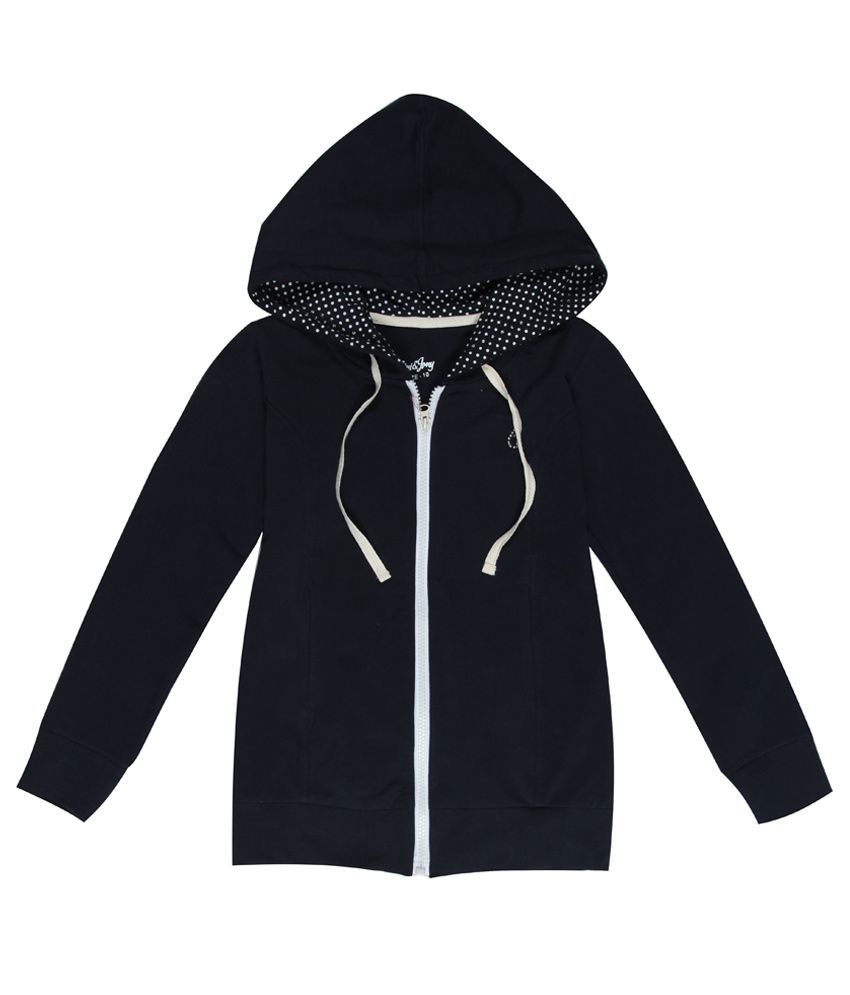 Gini & Jony Navy Blue Solid Regular Fit Hooded Jacket