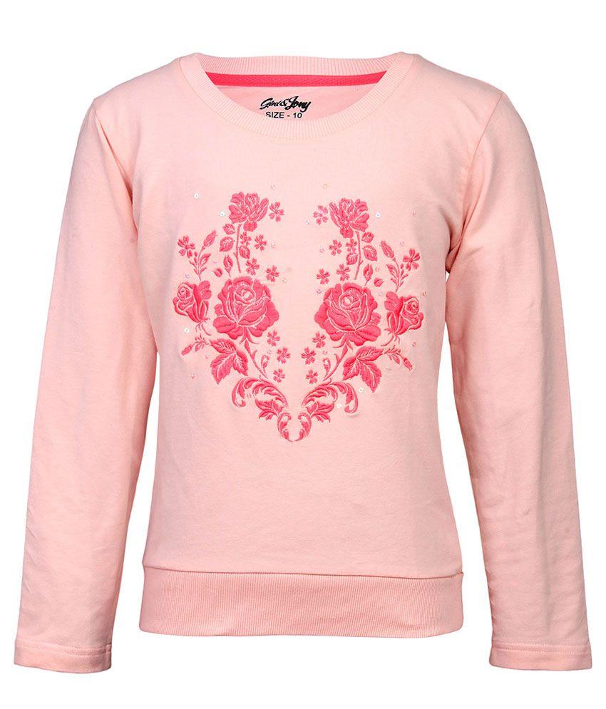 Gini & Jony PeachPuff Floral Printed Regular Fit Sweatshirt
