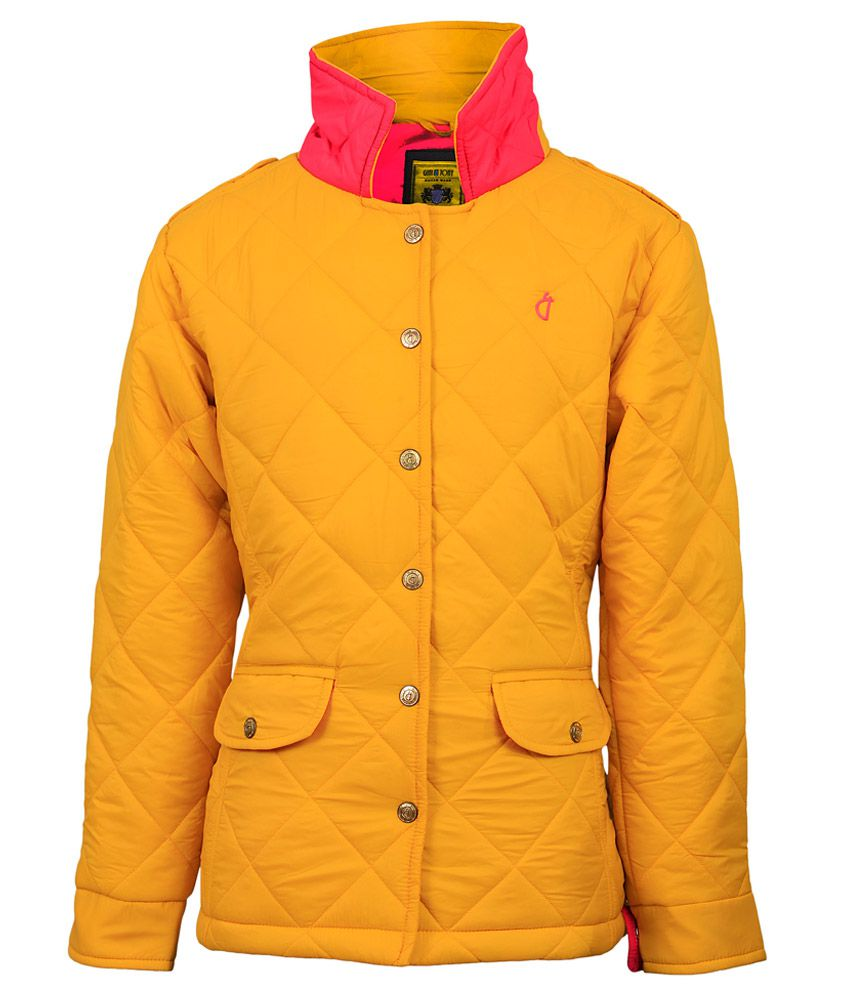 Gini & Jony Yellow Solid Regular Fit High Neck Jacket