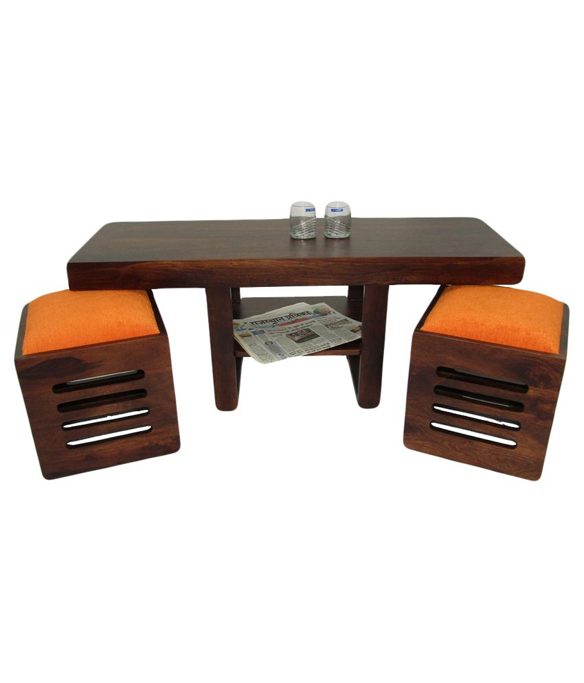 Woodfaber 2 Seater Coffee Center Table Stool Set