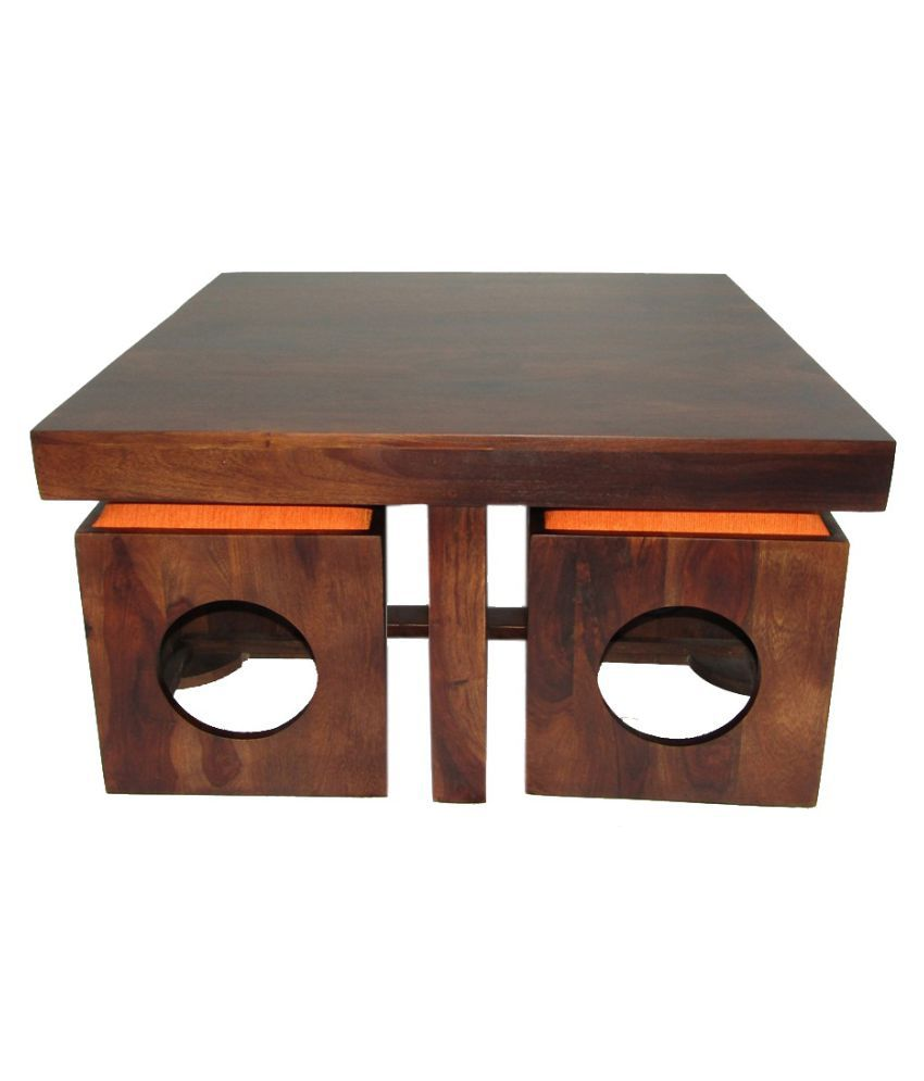 Woodfaber 4 Seater Coffee Center Table Stool Set Buy