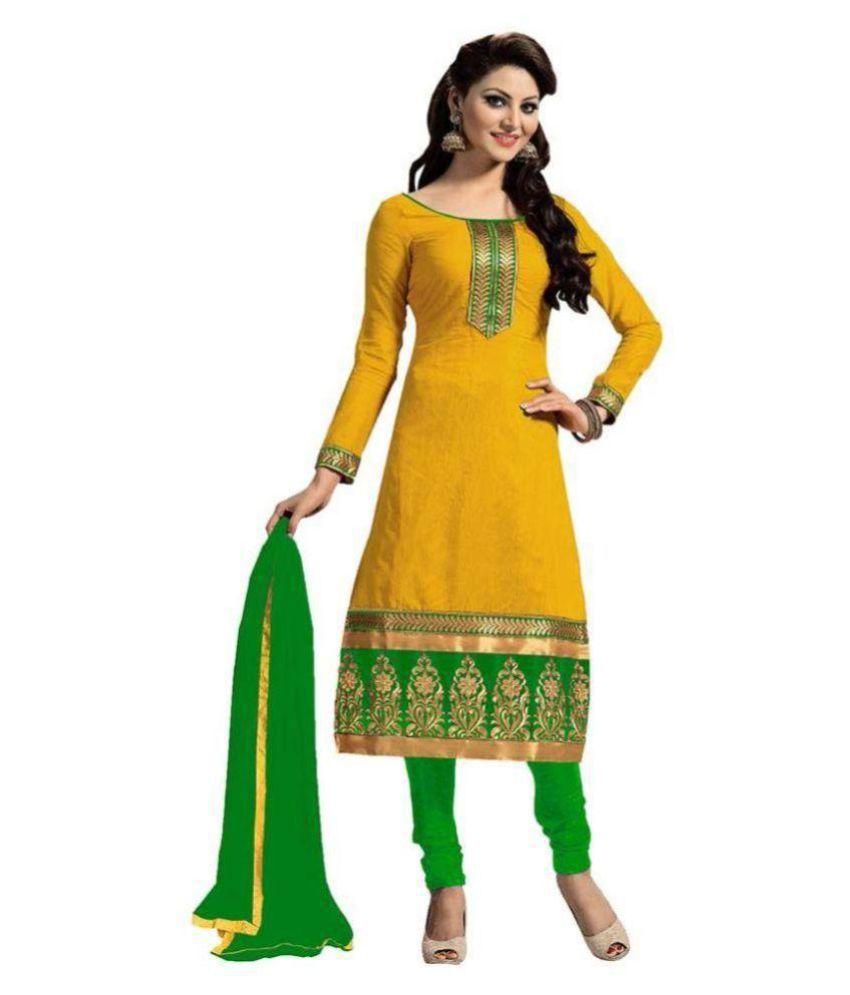 Aangel Enterprise Yellow Cotton Dress Material